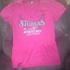 OFFICIAL WOMENS TEE-STURGIS OFFICIAL STURGIS MOTORCYCLE RALLY BLACK HILLS SOUTH DAKOTA 2013This awesome pink t-shirt I purchased at the event! What a wild party! Says L but fits like M. Tops Tees - Short Sleeve