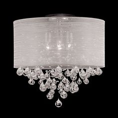 "Drum Round Shade 4 Lamp Flush Mount Crystal Balls Ceiling Light Chandelier Dia 21"" X H 20"""