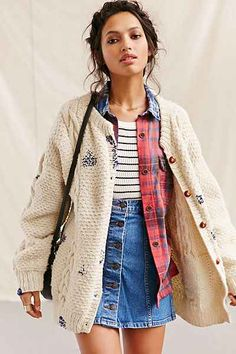 Urban Renewal Recycled Repaired Fisherman Cardigan - Urban Outfitters