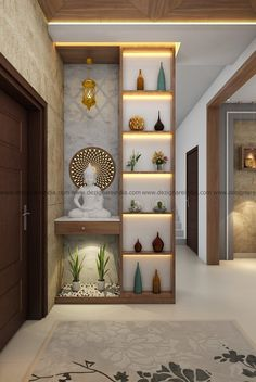Wall Divider Entryway Decor Living Room Partition Design Pertaining To Room Interior Living Room Partition Design, Living Room Divider, Pooja Room Door Design, Room Partition Designs, Home Room Design, Home Interior Design, Living Room Decor, Interior Decorating, House Design