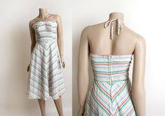 10ff64b5a2 Vintage 1970s Dress - Striped Rainbow Sundress - Halter Seersucker Summer  Spring White Cotton Dress Tie