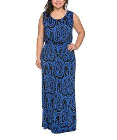 Royal Blue & Black Damask Maxi Dress - Plus by Celeste #zulily #zulilyfinds