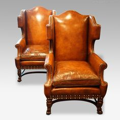 Antique Armchairs, Occasional Chairs & Stools, Pair Of Carved Oak And Leather Wing Chairs. Pair of carved oak and leather wing chairs Vintage Furniture, Cool Furniture, Furniture Buyers, Furniture Removal, Deco Furniture, Furniture Stores, Luxury Furniture, Furniture Ideas, Antique Armchairs