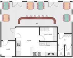 building plans - cafe and restaurant pl Cafe Floor Plan, Restaurant Floor Plan, Deco Restaurant, Floor Plan Layout, Kitchen Floor Plans, The Plan, How To Plan, Bakery Design, Cafe Design