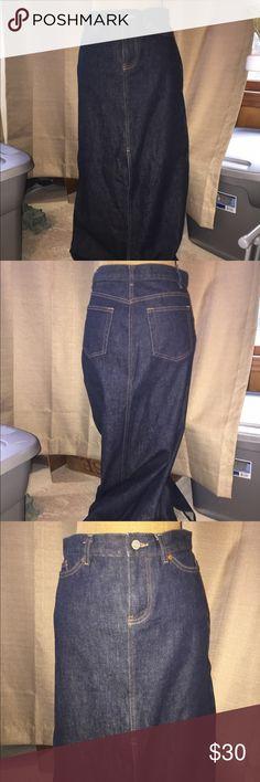 NWOT Gap long denim skirt NWOT Gap long denim skirt! Dark denim with long split in front. GAP Skirts