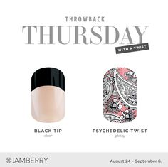 The final Throwback Thursday of 2017! Black Tip and Psychedelic Twist FTW! https://kerikellyjams.jamberry.com/us/en/shop/shop/for/nail-wraps?collection=collection%3A%2F%2F1114&pageSize=24 #KeriKellyJams
