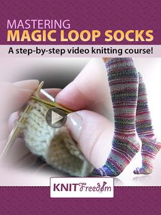 Learn Magic Loop socks, toe-up and top-down, with 30 KNITFreedom videos – Knitting Socks Magic Loop Knitting, Knitting Help, Knitting Videos, Knitting For Beginners, Knitting Socks, Knitting Stitches, Knitting Projects, Knit Socks, Crochet Slippers
