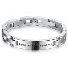 Personalized Engrave Bracelets For Men 215mm Stainless Steel Bracelets & Bangles Charm Men Jewelry Pulseras (BA101441) #Affiliate