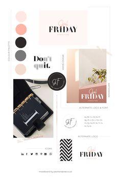 Black and blush pink logo and branding, colour palette, blush palette, black and pink palette Portfolio Website Design, Custom Website Design, Custom Logo Design, Classy Logos, Blush Color Palette, Blog Logo, Pink Moon, Pink Brand, Branding Design