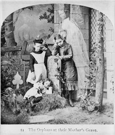 "Orphans at their mother's grave - Victorian ""spirit"" photography"