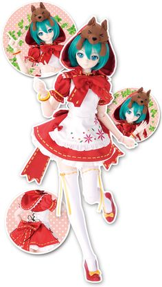 Miku HATSUNE petite chaperon rouge Anime Dolls, Bjd Dolls, Vocaloid, Hatsune Miku Project Diva, Personajes Monster High, Kawaii Doll, Barbie Doll House, Anime Figurines, Dream Doll