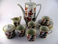 Vintage Hand Painted Japanese Tea Set Flowers Trimmed w/Gold Paint 1950-1960