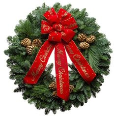 Stunning Christmas Wish Forest Fresh Christmas Wreath. Truly a show stopper. Makes a great gift for Christmas. Free shipping to most states too. Posted via BuyDirectUSA.com #buyamerican #christmaswreath #christmasgifts #madeinusa