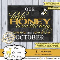 This APRIL little honey printable chalkboard pregnancy announcement poster or baby reveal photo prop Pregnancy Goals, Pregnancy Signs, October Pregnancy Announcement, Pregnancy Announcements, Baby Reveal Photos, Printable Poster, Chalkboard Pregnancy, Pregnant Couple, Little Valentine