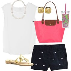 OOTD, created by classically-preppy on Polyvore I would possibly go light blue or red instead of pink.,,