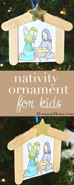 A simple and sweet ornament idea that kids can make. All you need is a few popsicle sticks, colors, glue, and a printable to make this Nativity ornament.