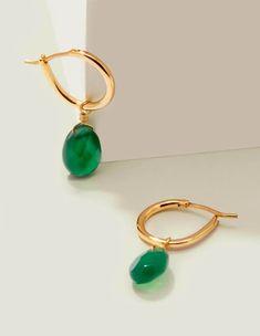 Semi-Precious Hoops - Gold/Green Agate Multi