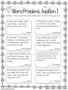 Word Problems: Addition Freebie And other great resources for grade cc Addition Words, Math Addition, Addition Facts, Math Story Problems, Word Problems, Math Resources, Math Worksheets, Addition Worksheets, Second Grade Math