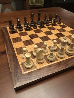 Handmade chess board. Red oak and walnut with 3 coats of poly.