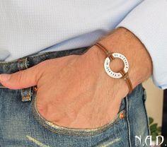 Coordinates Bracelet. Washer Hand Stamped Bracelet. Adjustable Band | mens-accessories - Jewelry on ArtFire