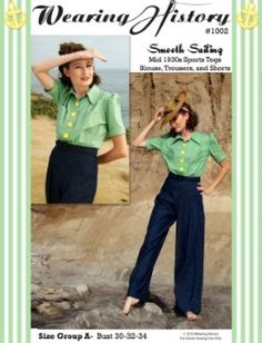 Vintage Fashion Library - Vintage1930s Smooth Sailing Blouse Loose Sports Trousers Shorts Pants Sewing Pattern 36-38 40