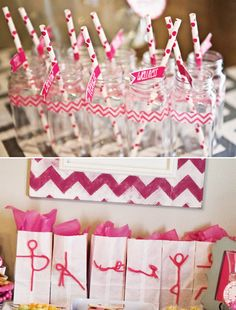 – White favor bags with pink tissue paper, decorated with pipe cleaner yoga moves!