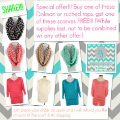 Buy one of these tops, get one of these scarves FREE!!! Available on the DAKOTA JACKSON BOUTIQUE Facebook page!! Repin!