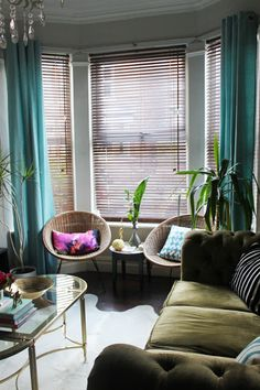 bay window curtains in turquoise