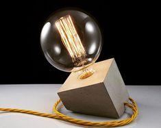 READY TO SHIP: Concrete lamp with yellow door IndustrialRepublic