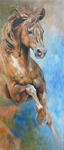 """✿ ❤ HORSES Oil painting by Cath Driessen """"Stops"""" www.cathdriessen.nl 155 x 55 cm"""