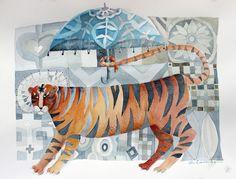 tiger with blue umbrella | Flickr - Photo Sharing!