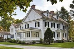 Traditional White House, Black Shutters exteriors