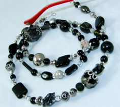 Black and Silver Beaded Glass Eyeglass Chain by nonie615, $24.00 Other available conversions are key or id badge lanyard or as a necklace. Free 1st Class USPS shipping.