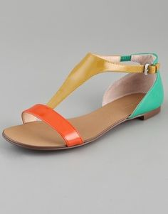 Love me some strappy flats. Boutique 9 Piraya Multicolor T Strap Sandals - StyleSays Cute Sandals, T Strap Sandals, Flat Sandals, Shoes Sandals, Block Sandals, Strappy Flats, Leather Sandals, Pretty Shoes, Cute Shoes