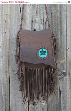 Fringed leather handbag Bohemian gypsy crossbody purse with beaded turtle totem Handmade leather crossbody bag with lots from Thunder Rose. Leather Crossbody Bag, Leather Purses, Leather Handbags, Leather Bag, Soft Leather, Brown Leather, Hippie Style, Hippie Chic, Bohemian Style