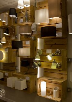 Lighting showroom close up on crates