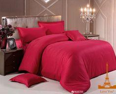 Комплект постельного белья Love You Страйп Сатин 200x220 Красный (m011460)