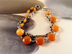 Orange aventurine silver bracelet two strand bracelet by Mirma Strand Bracelet, Beaded Bracelets, Gifts For Women, Gifts For Her, Handmade Jewelry, Unique Jewelry, Handmade Gifts, 50th Birthday Gifts, Anniversary Gifts