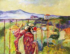 'Sur le balcon', huile sur toile de Henri LEBASQUE (1865-1937)