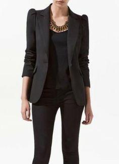 Black Shrunken Notch Lape Long Sleeve One Button Blazer >> Love this blazer, such cute sleeves! $ 36.16