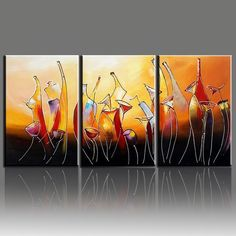 Hand Painted Modern Abstract Bottle Wine Oleo 3 Panel Canvas Painting For Kitchen Decor Wall Pictures Art Sets Unframed #Affiliate