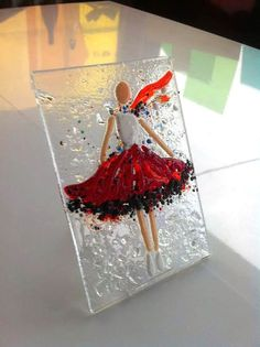 Fused glass wall art Ballerina Red fused glass by SevenGlassElena