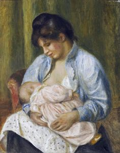 A Woman Nursing a Child, 1894. Pierre Auguste Renoir