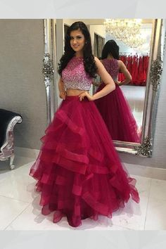2880f99ddd11 Custom Made Suitable Long Prom Dress, Burgundy Prom Dress, Prom Dress Red,  Evening Dress Two Piece