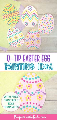 A fun q-tip Easter egg painting idea! Kids will have fun dotting on different patterns with q-tips to make this colorful art project. A great painting activity for kids of all ages. Spring Arts And Crafts, Spring Art Projects, Projects For Kids, Crafts For Kids, Cute Easter Bunny, Easter Art, Easter Eggs, Painting For Kids, Art For Kids