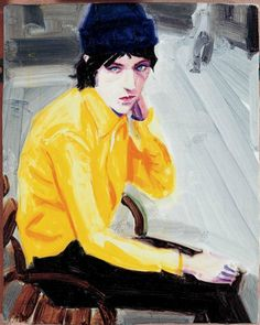 """Elliot in the Park"" Elizabeth Peyton Elizabeth Peyton, Figure Painting, Figure Drawing, Painting & Drawing, Painting Portraits, Palais Galliera, Carnegie Museum Of Art, Mellow Yellow, Bright Yellow"