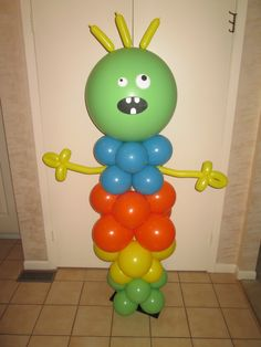Let us customize a balloon sculpture for your party!  This was for a Little Monsters theme 1st birthday.  By www.Total-Party.com