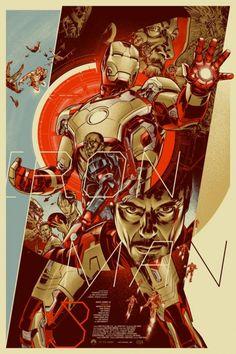 """Affiche originale Mondo """"IronMan3"""" par Martin Ansin (année 2014) numérotée. Taille 24""""x36"""". Regular Screenprint, limité à 450 exemplaires au monde.@asgalerie #asgalerie #mondo #ironman3 #martinansin #avengers #marvel."""