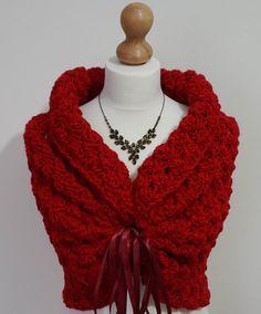 Red Shawl Winter Wedding Shawl Romantic Cover Up by HandmadeLaremi