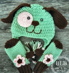 puppy dog hat and mitten set #crochet